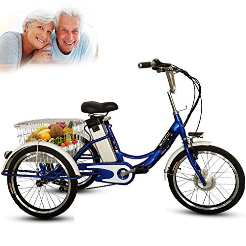 DNNAL Triciclo eléctrico para Adultos, 20'Triciclo de 3 Ruedas Bicicleta eléctrica Ocio Cesta de Verduras Cesta con luz LED y Cesta de la Compra,Azul