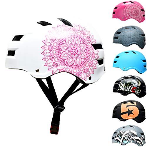 SkullCap Casco de Skate y BMX - Bicicleta Y Scooter Eléctrico, Diseño: Mandala, Talla: L (58-61 cm)