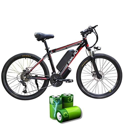 XXCY C6 Bicicleta De Montaña Eléctrica,Bicicleta Eléctrica De 1000w 26 '' con Batería Extraíble De Iones De Litio De 48v 15ah Shimano 27 Speed Gear (Negro-Rojo)
