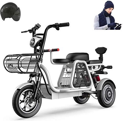 Bici electrica, 500W 3 Rueda de bicicleta eléctrica de 48V for adultos 8AH Montaña Scooter eléctrico 12 En bicicleta eléctrica de absorción de choque múltiple con la cesta del almacenaje y Kid Asiento