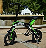"""Bicicleta scooter eléctrica 300W 14"""" plegable MouneK M-01 batería Litio 48V 4,4A precio oferta muy barata velocidad de 25 km/h autonomía 25 km Pesa 17kg Soporta 120kg de peso scooter para pasear por ciudad (Verde)"""
