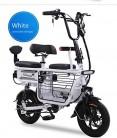 ZZKK Bicicleta eléctrica Mini Plegable Dos Baterías de Litio Redondas Scooter de Viaje Batería de Adultos