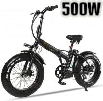 XXCY Bicicleta eléctrica Plegable 500w e-Bike 20″* 4.0 neumático Gordo 48v negra
