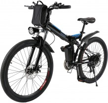 AMDirect Bicicleta de Montaña Eléctrica Bici Plegable Ebike con Rueda de 26 Pulgadas