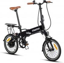 Moma Bikes E16teen + portabultos Bicicleta Electrica, Plegable, Urbana