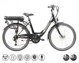 F.lli Schiano E- Moon Bicicleta eléctrica, Adultos Unisex, Negra, 26″