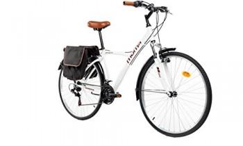 Moma Bikes Bicicleta Trekking / Paseo HYBRID 26″, Alu, SHIMANO 18V, Susp. Delant. Blanca