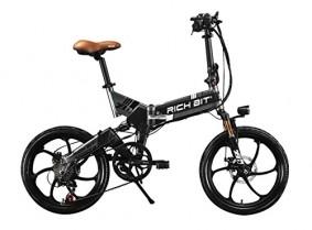 RICH BIT® RT 730 Bicicleta eléctrica Plegable 250 W * 48V 8Ah negro y gris